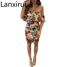 Lanxirui 2018 New Sexy Fashion Women Slim Off Shoulder Print Short Dress Dropshipping Hot Sale July0728