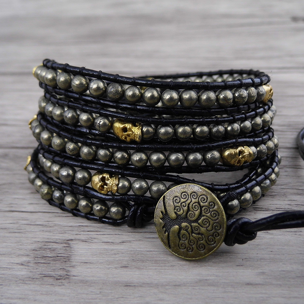 Pyrite wrap skull beads bracelet leather wrap boho bracelet yoga jewelry skull wraps barcelet dropshipping bohemian skull men chic skull shape bracelet for men