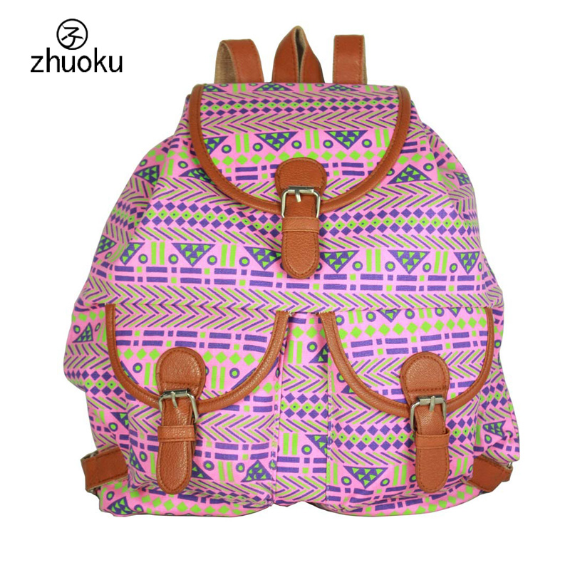 Drawstring backpack women vintage back pack Printed elephant canvas backpacks feminina rugzak free shipping T32