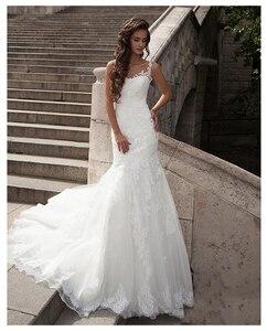 Image 2 - LORIE  Mermaid Wedding Dress See Through Back 2019 Vestidos de novia Vintage Sexy Scoop Neck Bride Dresses Floor length