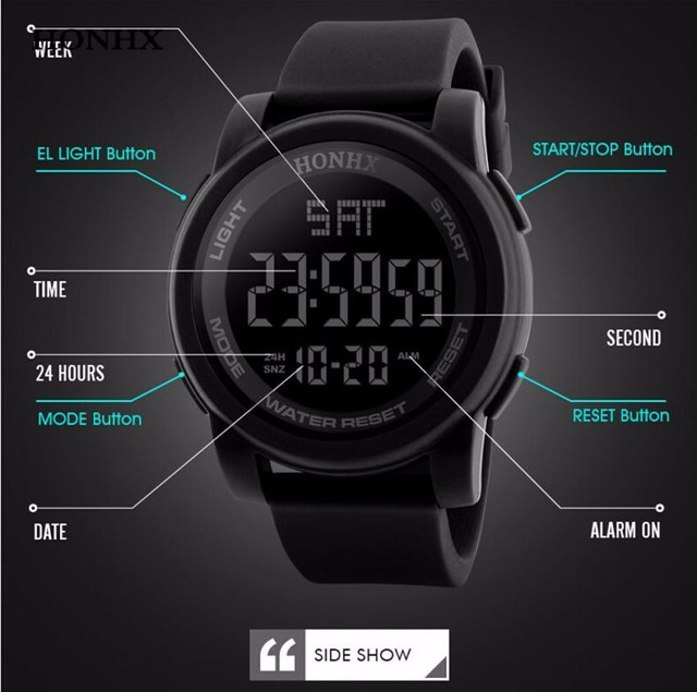 HONHX Fashion Men Watch LED Waterproof Digital Clock Men Quartz Military  Sport Date Wrist Watches Relojes Hombre 40
