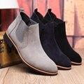 Британской Моды Челси Сапоги коровы Замши Кожа Швейные Нитки Мужчины Ботинки kanye chaussure femme Плюс Размер Плюс Размер 37-45