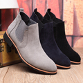 British Fashion Chelsea Boots cow Suede Leather Sewing Thread Men Ankle Boots kanye chaussure femme Plus Size Plus Size 37-45