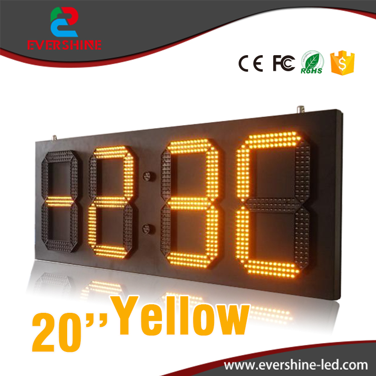 20 Outdoor 4 Digits 7 Segment Clock LED Digital Display yellow Color LED Time / Data Temperature Signs 100 pcs ld 3361ag 3 digit 0 36 green 7 segment led display common cathode