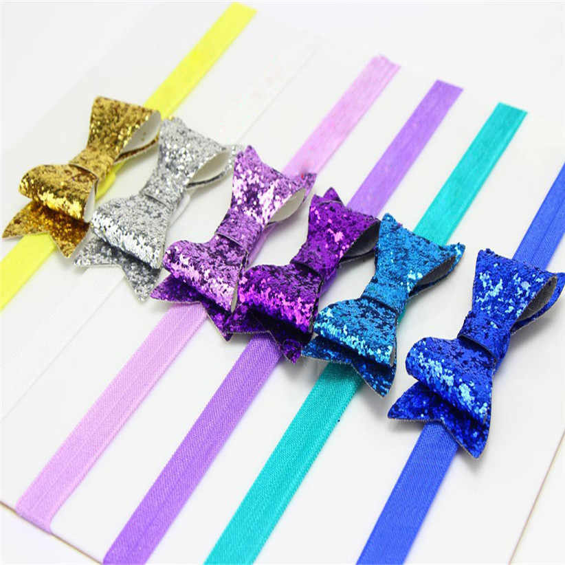 Newly Design Kids Girls Sequins Big Bow Butterfly Headbands Hair Bands 170315 Drop Shipping
