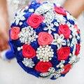 DIY брошь букет Шелковый Невесты Свадебный Свадебный Букет Невесты синий сапфир Искусственный Цветок Настраиваемый