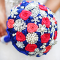DIY brooch bouquet  Silk Bride Bridal Wedding Bouquet Bridesmaid sapphire blue Artificial Flower Customizable