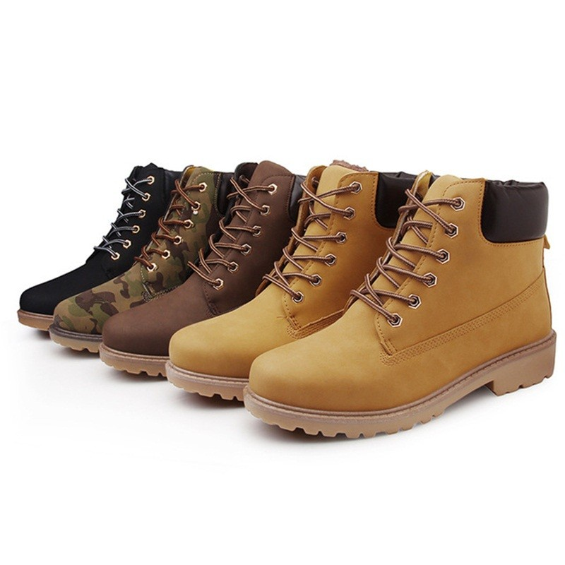 Arsmundi otoño y invierno Unisex botas Martin botas de encaje de mujeres-zapatos para Hombre Zapatos de felpa caliente de moda Casual par de tobillo botas