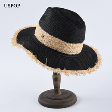 USPOP 2019 Newest women raffia sun hats diamond letter M straw casual summer patchwork beach hat couple jazz