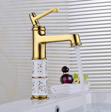 Luxury brass bathroom water faucet with single handle single hole golden bathroom basin sink faucets