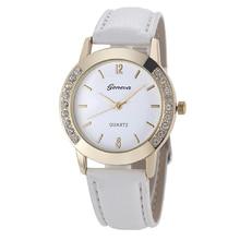 Womens Trend Analog Diamond Leather-based Quartz Wrist Watch – White