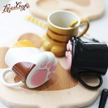 1pc Cat Paw Cup Coffee Mug Ceramic Drinking with Lid Milk Mugs Breakfast Oatmeal Cartoon C Gift caneca