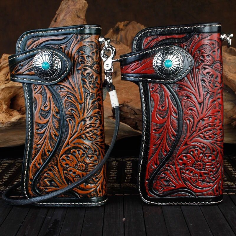 Genuine Leather Wallets Carving Floral Bag Purses Women Men Clutch Vegetable Tanned Leather Wallet Turquoise Hasp New Year Gift vintage genuine leather wallets carving lion hasp bag purses women long clutch vegetable tanned leather wallet fathers day gift