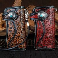 Genuine Leather Wallets Carving Floral Bag Purses Women Men Clutch Vegetable Tanned Leather Wallet Turquoise Hasp New Year Gift