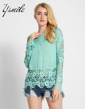 YSMILE New Fashion Korean Tops Blouses Lace Patchwork Long Sleeve Summer Blusas Women Sexy Hollow Out Lace Shirts Clothing
