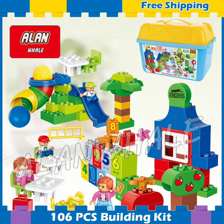 106pcs My First Learning Park Model Big Size Building Blocks Bricks Kids Gifts Sets Boys Girls Toys Compatible With Lego Duplo big particles model building blocks forest paradise house sets children toys diy city bricks compatible with duplo birthday gift
