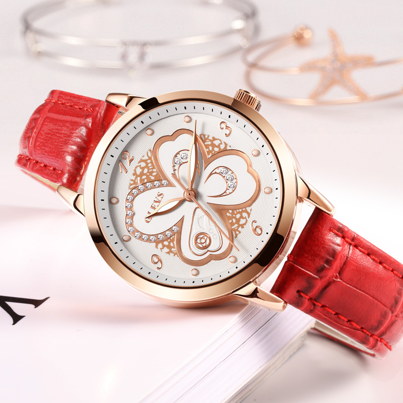 OLEVS Women Watches Rose gold Leather Luxury Japanese quartz movement Ladies Watch Women Rhinestone Clock relogio feminino saat casima women watches waterproof fashion ladies leather rhinestone gold quartz wrist watch clock woman 2018 saat relogio feminino