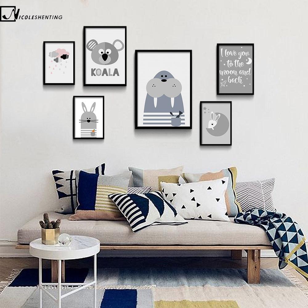 NICOLESHENTING rajzfilm állat Koala pecsét minimalista művészet vászon poszter festés óvoda fal kép modern otthon gyerekek szoba dekoráció