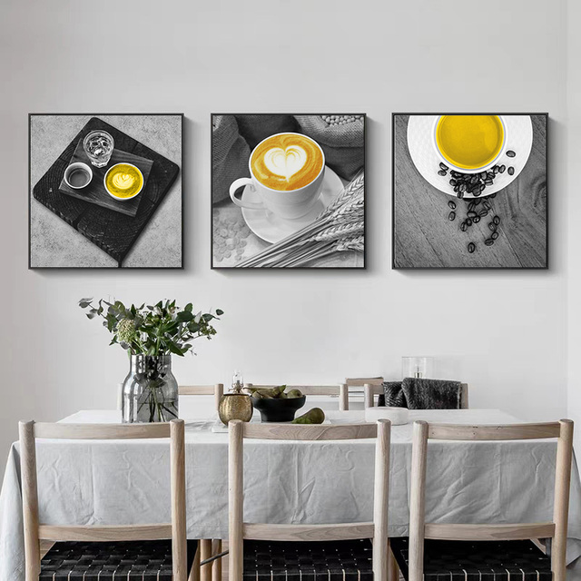 Yellow Coffee Cup Nordic Canvas Painting Print Wall Art Sweet Home Decor Modern Poster Living Room Picture Art Decor Painting