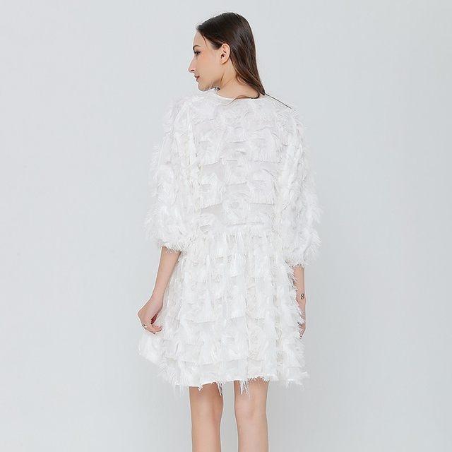 Online-Shop TWOTWINSTYLE Feder Casual Kleid Weibliche Schwarze Weiße ...