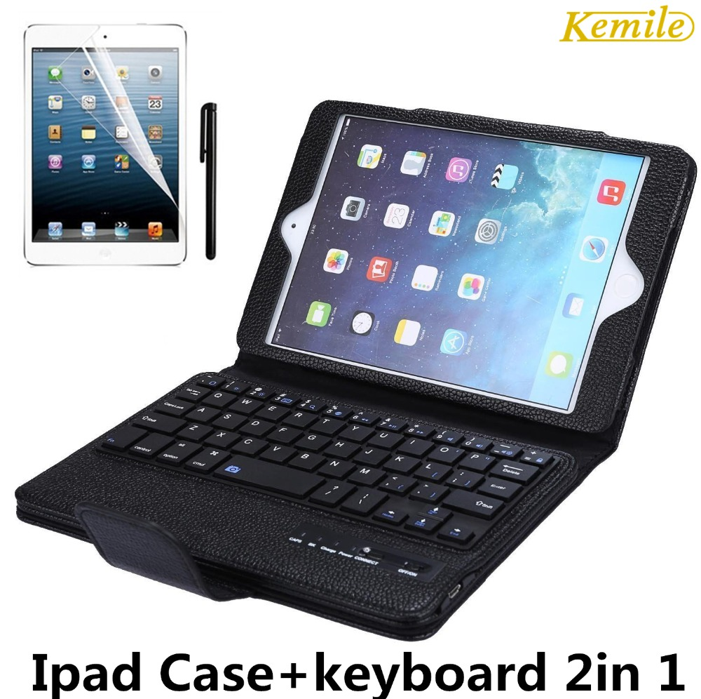 Kemile Bluetooth Keyboard Case For iPad Mini 2 Wireless Keyboard For ipad Mini 1/2/3/4 PU leather keyboard cover for ipad mini for ipad pro 12 9 keyboard case magnetic detachable wireless bluetooth keyboard cover folio pu leather case for ipad 12 9 cover