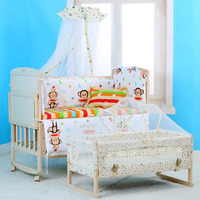 Baby Solid Wood Crib 5pcs Cradle trolley children bed Adjustable Kids cribs Cartoon multifunction wood desk bed