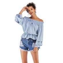 Women's Shirts  Fashion 2019 Long  Sleeve Clothes Chiffon Shirt Casual Tops Off-Shoulder Tie Chiffon Shirt Polka Dot Puff Sleeve polka dot long sleeve casual shirt