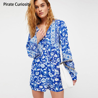 Pirate Curiosity Summer Women Rompers Playsuit Deep V Neck Retro Floral Print Body Feminino Jumpsuits Boho Beach Short Playsuits