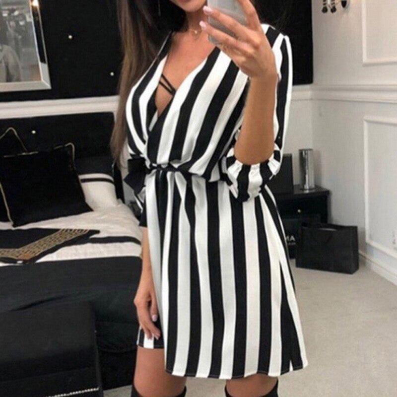 NIBESSER Sexy Women V-Neck Striped Tunic Dress Summer Black White Striped Beach Mini Dress 2018 Fashion Loose Sundress Vestidos