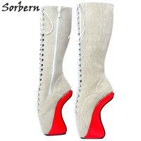Sorbern 18 см секретные балетки на танкетке унисекс размер 36 46 копыта Heelless Zip фетиш черный матовый обувь женская обувь 2018