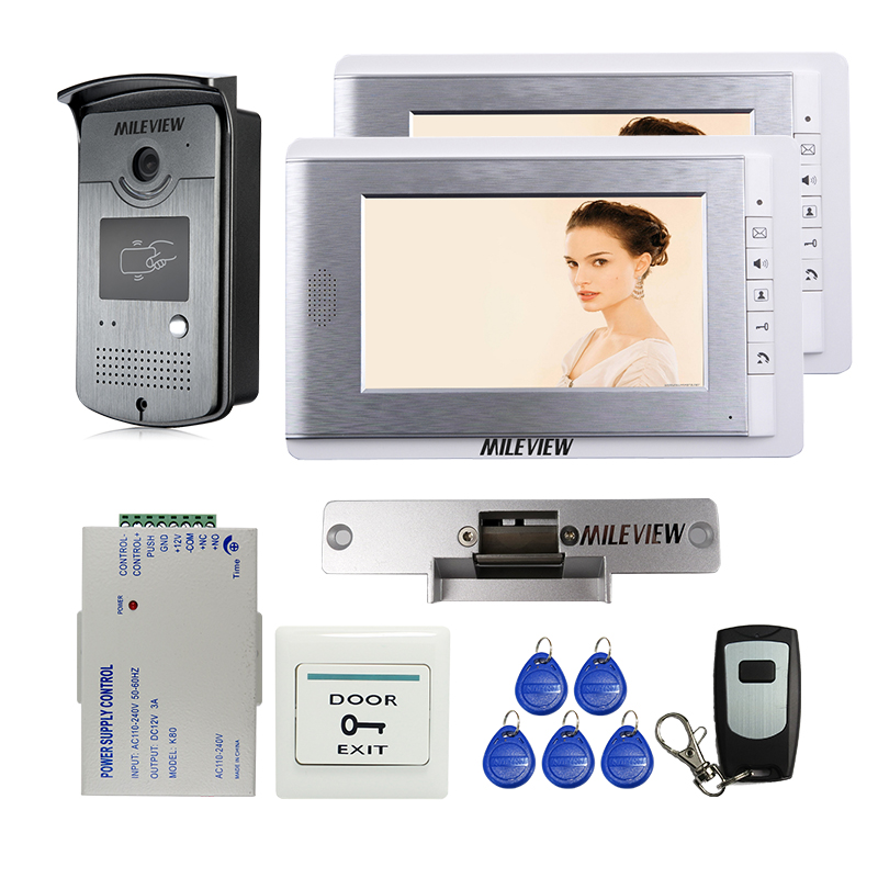 Wholesale New 7 Color Video Door Phone Intercom + 2 Monitors + RFID Card Access Bell Camera + Strike Lock Remote FREE SHIPPING new 7 inch color video door phone intercom system 2 monitors rfid access door bell camera 250mm long strike lock free shipping