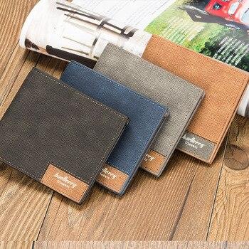 vintage canvas Men short Wallet retro Leather small male Purse Money Bag coin Card pocket Dollar Bill denim thin teenager Wallet wallet