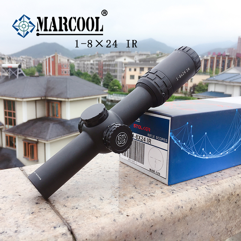 Marcool 1-8×24 IG Riflescope Adjustable Red Dot Hunting Light Tactical Scope Reticle Optical Rifle Scope Fast Focus