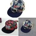 Cap moda 2016 Unisex Snapback Ajustável Boné de Beisebol do Hip Hop Chapéu Fresco Floral Fresco Bonito da Marinha Preto