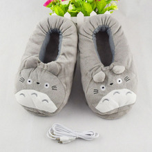 2017 Winter New USB Heating Pantufa Women Home Slippers Cotton Fabric Cartoon Kawaii Totoro Minion House Slippers Spa Slippers