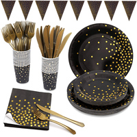 145pcs/Set Gold Dot Disposable Paper Dinnerware Set Gold Foil Party Supplies For Wedding Birthday Party