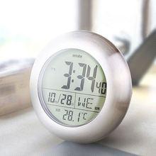 50 PcsLED Digitale Wasserdichte Bad Elektrische Wanduhr Modernes Design  Metallgehäuse Uhr Wand Reloj De Pared Despertador Digita.