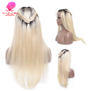 Image 4 - QUEEN BEAUTY Brazilian Lace Front Wig 613 Blonde Long Straight Remy Human Lace Wigs with Baby Hair 150% Density 8   26 inch