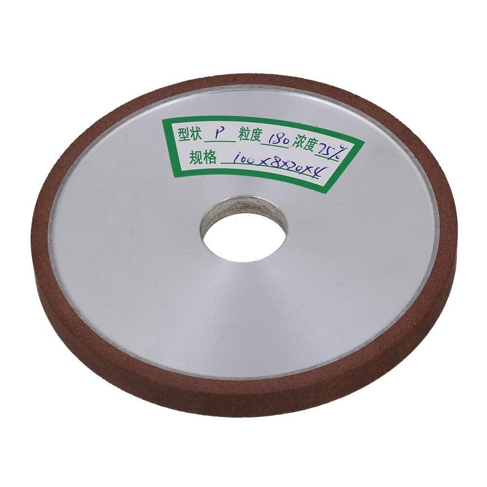 Flat Disc Straight Silver Diamond Aluminum Resin Grinder Grinding Wheel 180# Grit (100x8x20mm)