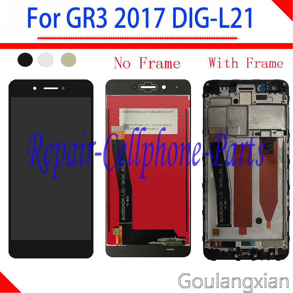 5.0 inch Full LCD display + Touch <font><b>screen</b></font> Digitizer assembly with Frame For <font><b>Huawei</b></font> <font><b>GR3</b></font> <font><b>2017</b></font> ( Diego) DIG-L21 image