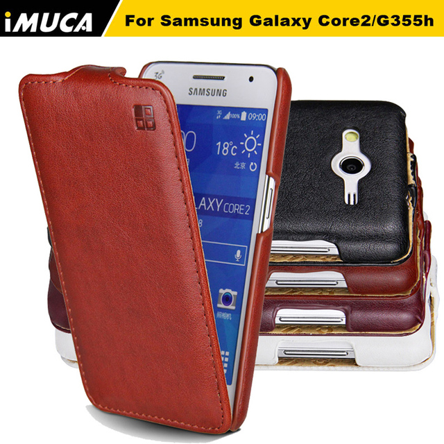 For Samsung Galaxy Core 2 Case iMUCA Flip Leather Case Hard Back Cover for Samsung Galaxy Core 2 G355H SM-G355H Phone Cases