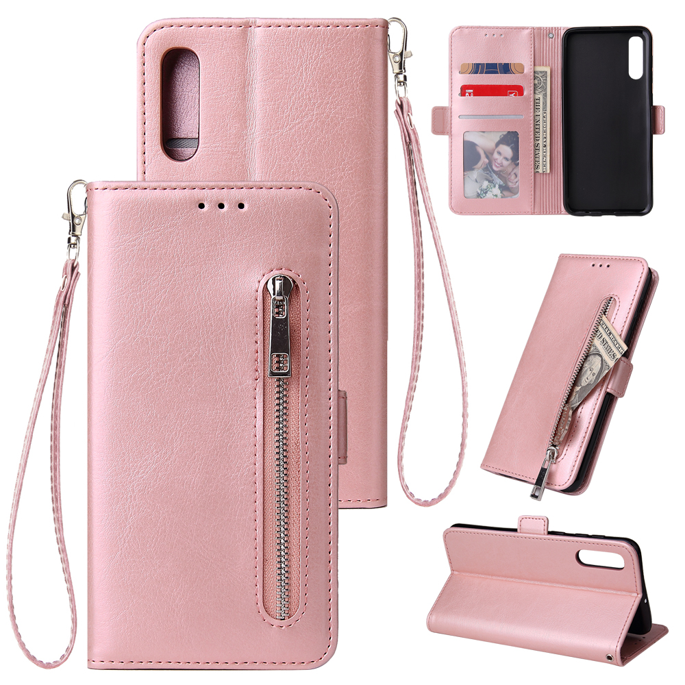 For Samsung Galaxy A3 A5 A7 A6 A8 A9 A10 A20 A30 A50 A70 Wallet Leather Case fashion zipper Flip Cover Mobile Phone Bag