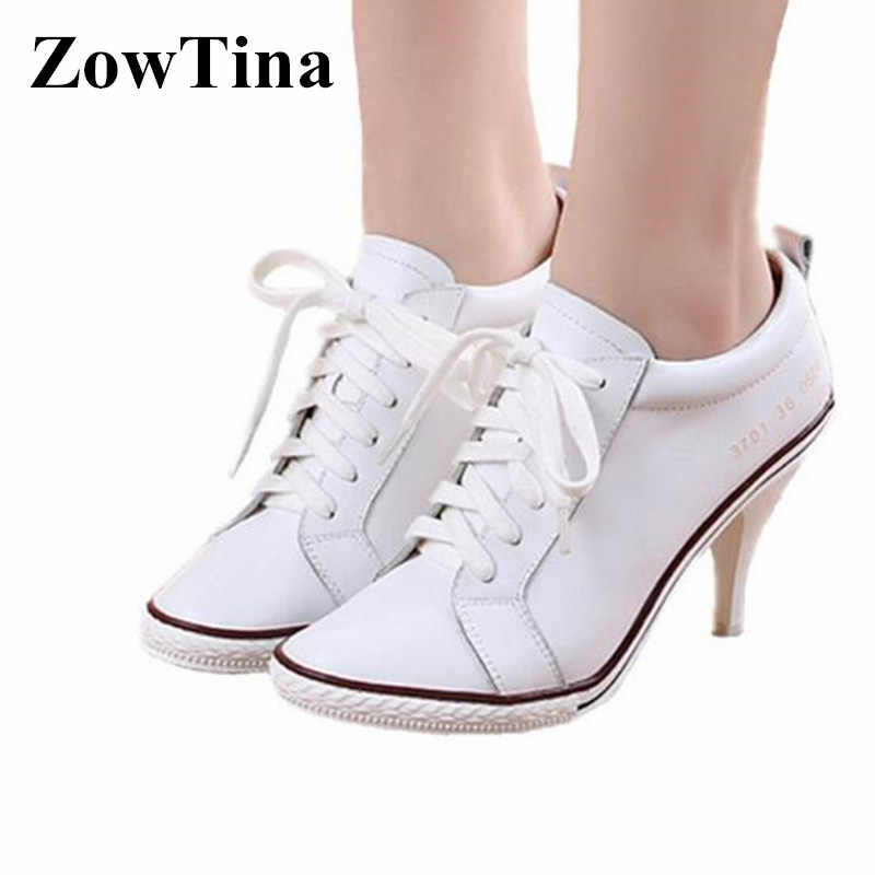 White Real Leather Women Lace Up Pumps