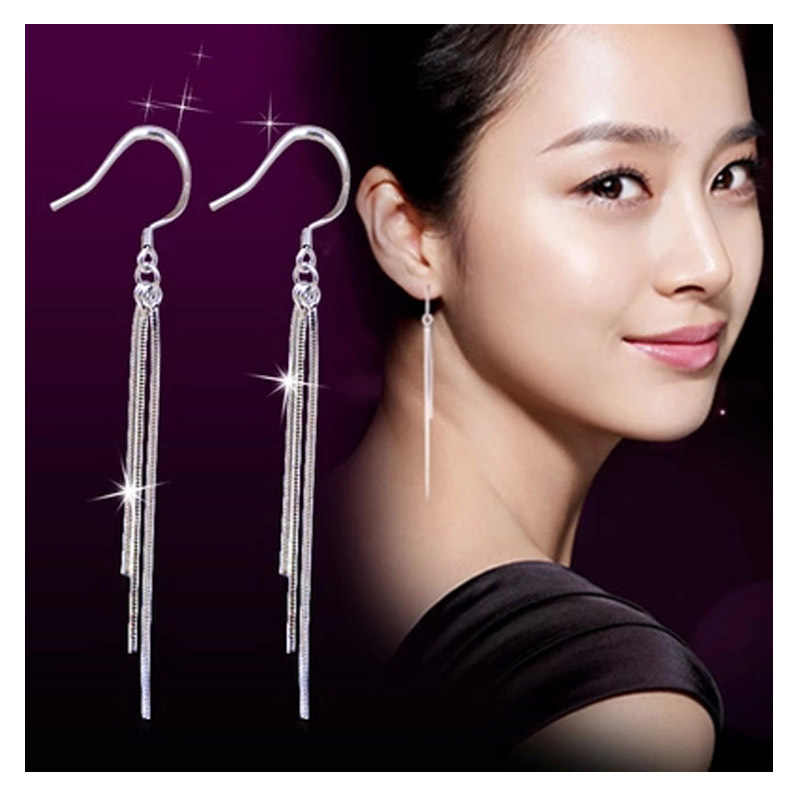 2018 Fashion Silver Color Earrings Exaggerated Tassel Earrings Three Lines Long Drop Water Design Women Ear Jewelry Wholesale