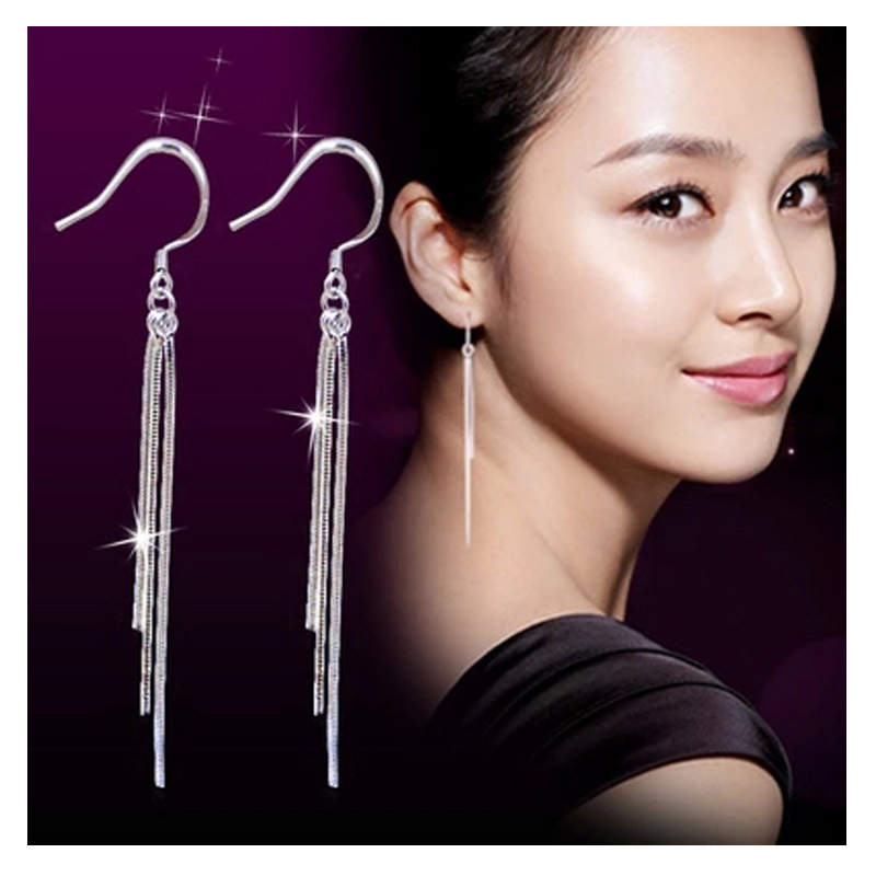 2020 Fashion Silver Color Earrings Exaggerated Tassel Earrings Three Lines Long Drop Water Design Women Ear Jewelry Wholesale