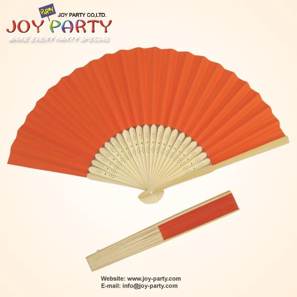 10ks / lot 21cm oranžový papír ruční ventilátor strana dekorace propagace DIY přízeň