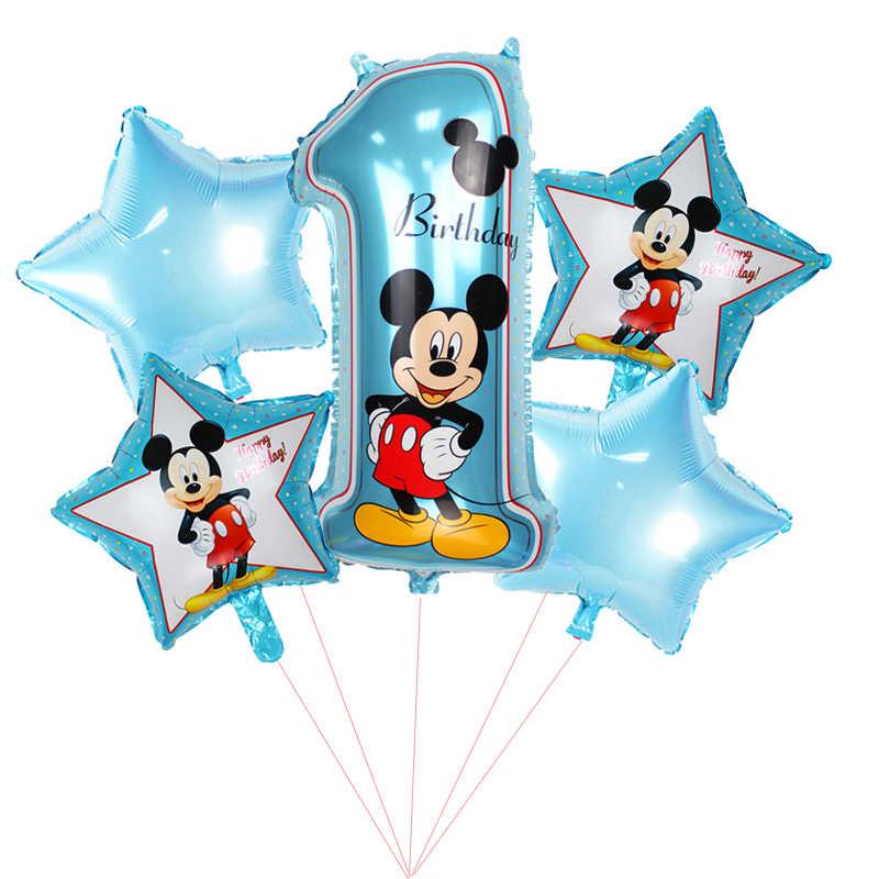 5 uds./feliz fiesta de cumpleaños decorativa globos de Mickey Mouse 18 pulgadas de papel de Hernia de asterisco globo bebé 1 er cumpleaños