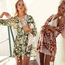Pareo Beach Cover Ups Summer Swimsuit Up Women Sexy Bikini Cardigan Cotton Floral Long Dress