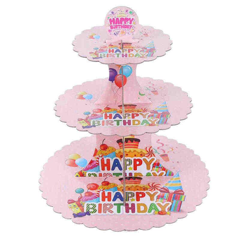 1 комплект единорог мультфильм 3 уровня-торт стенд Baby Shower поставки дети День рождения украшения кексы держатель моноблок