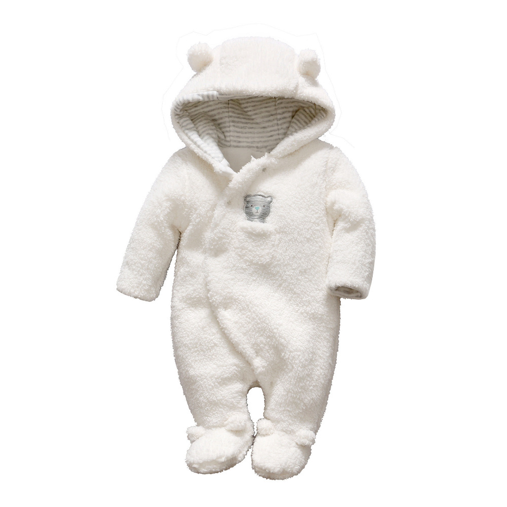 Newborn Clothes Bear Baby Girl Boy Rompers Hooded Fleece Jumpsuit Winter Baby Romper Overalls Costume For Kids Roupa Menina